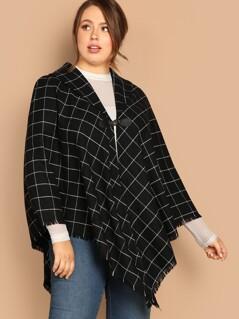 Plus Frayed Edge Grid Cape Coat