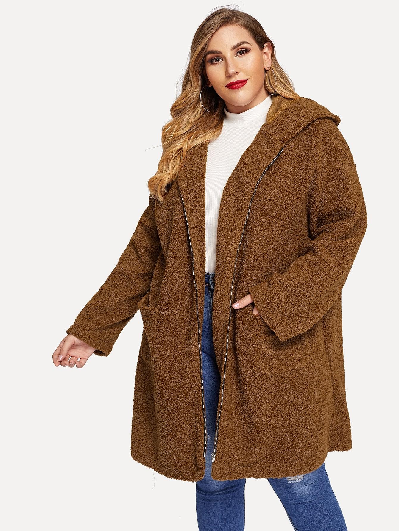 Купить Пушистое пальто на молнии с капюшоном размера плюс, Mafe, SheIn