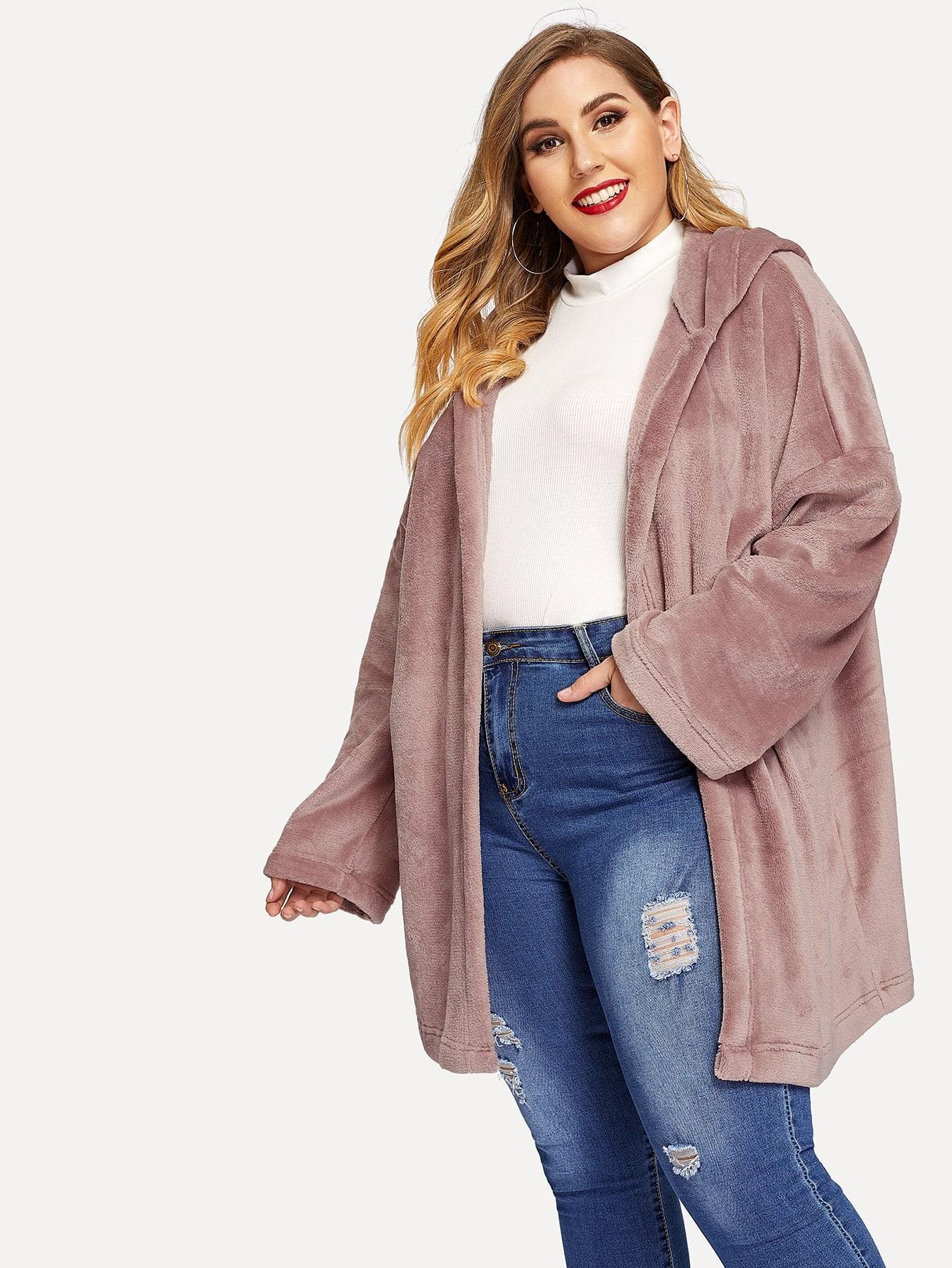 Купить Размера плюс однотонное пальто с капюшоном и заниженной линией плеч, Mafe, SheIn