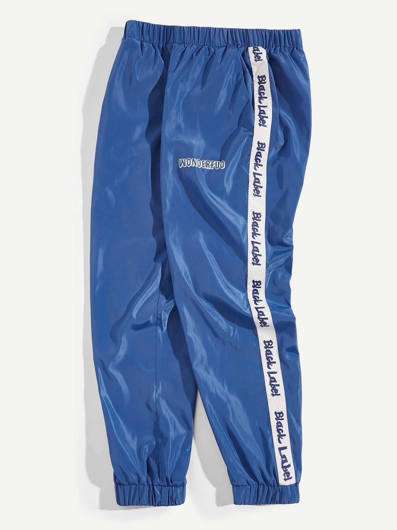 Купить Мужские брюки в полоску с принтом текстовым, null, SheIn