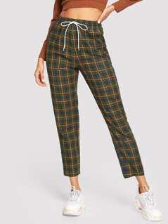 Drawstring Waist Tapered Plaid Pants
