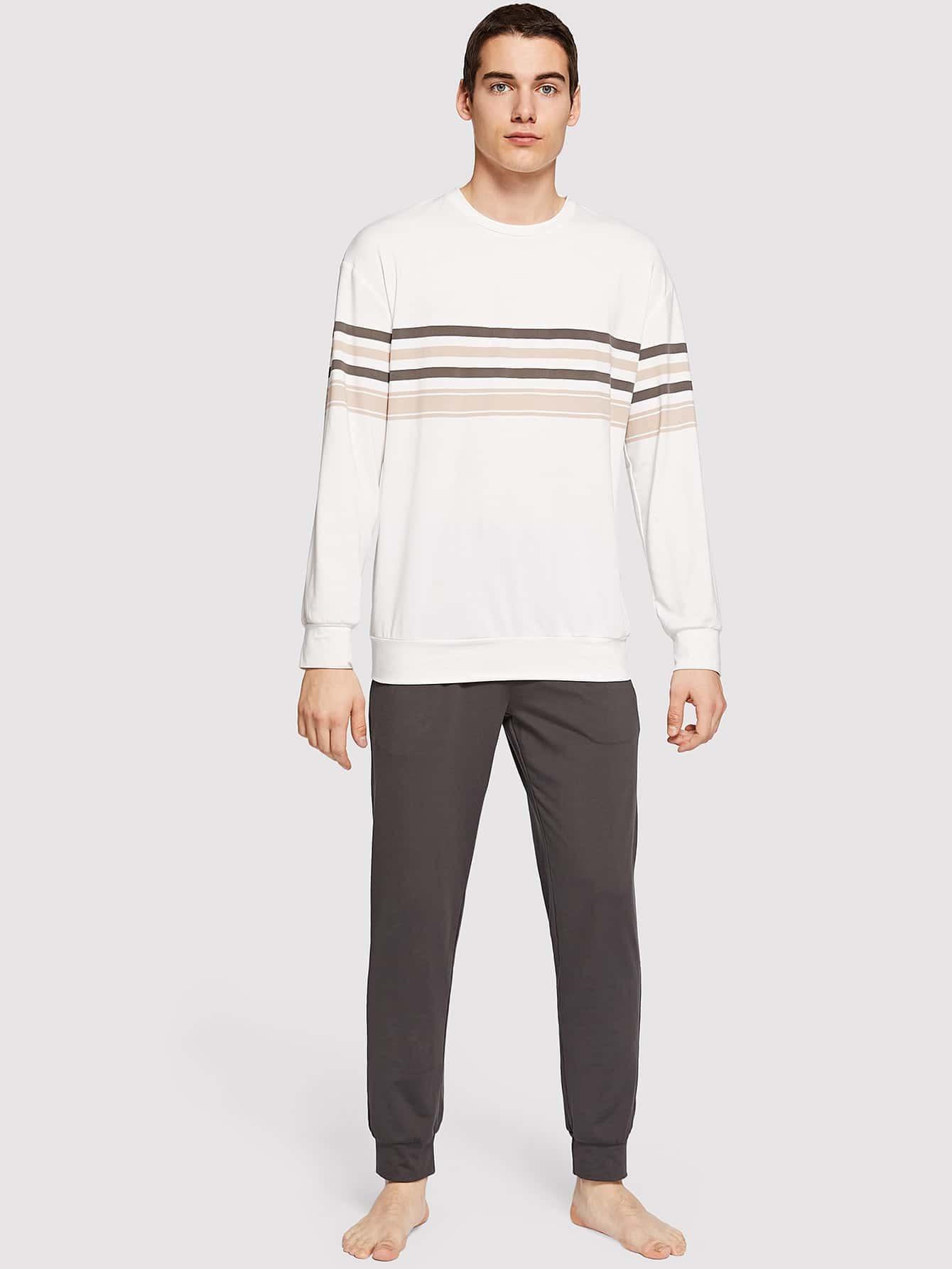 Купить Мужские полосатый пуловер и брюки пижамы комплект, Misha, SheIn