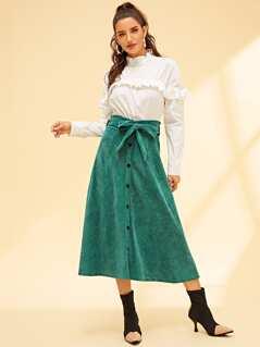 Bow Tie Waist Button Up Corduroy Skirt