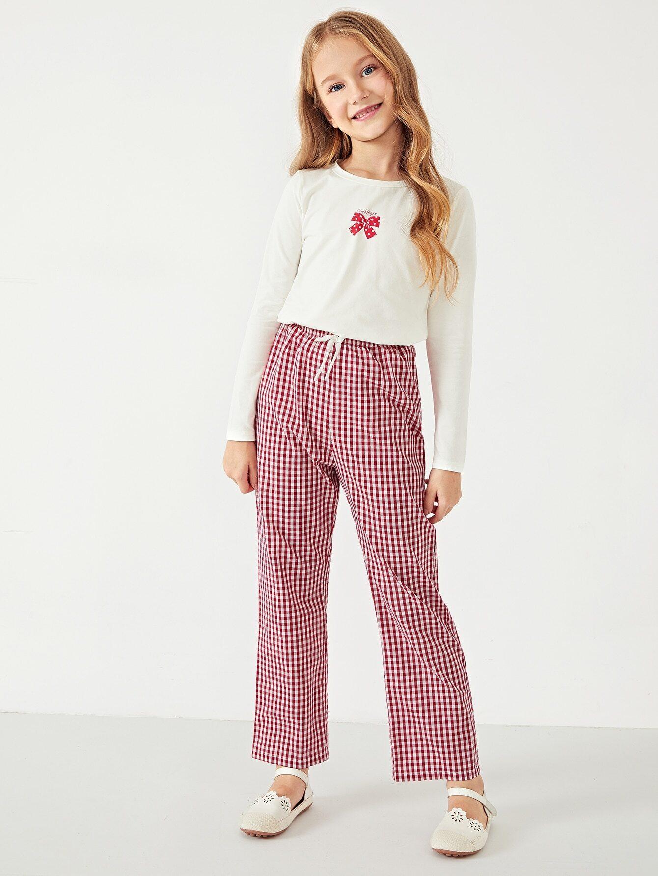Футболка и брюки в клетку пижамы комплект для девочек от SheIn