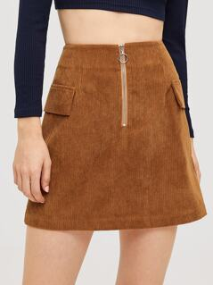 O-ring Zipper Up Cord Skirt