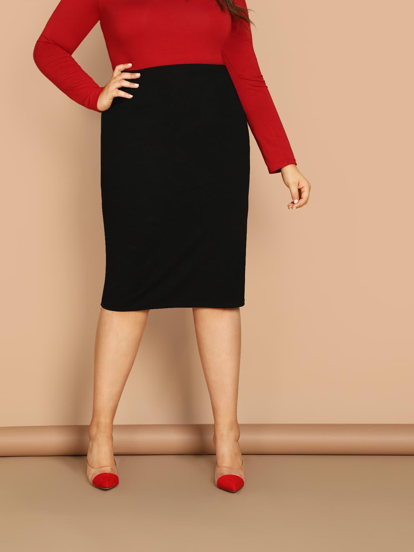 Купить Однотонная юбка размера плюс, Bailey Carr, SheIn