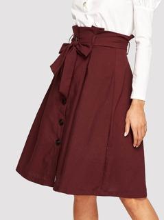 Bow Tie Waist Button Front Skirt