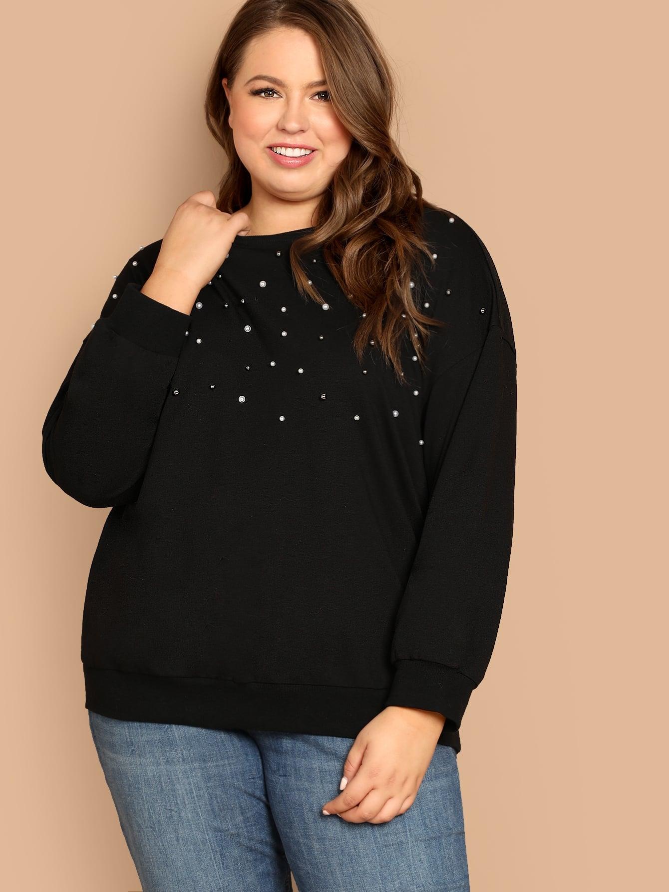 Купить Пуловер с жемчугами размера плюс, Bailey Carr, SheIn