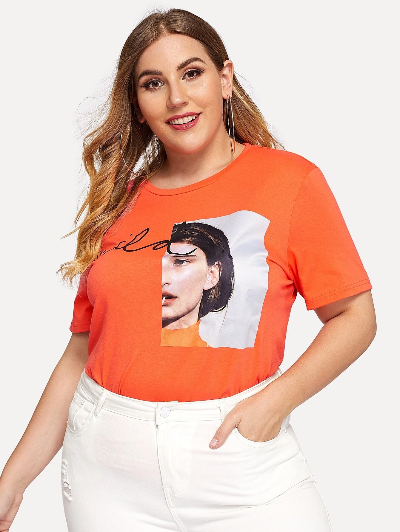 Купить Плюс Patch T-shirt, Mafe, SheIn