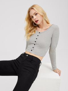 Button Front Striped Crop Tee