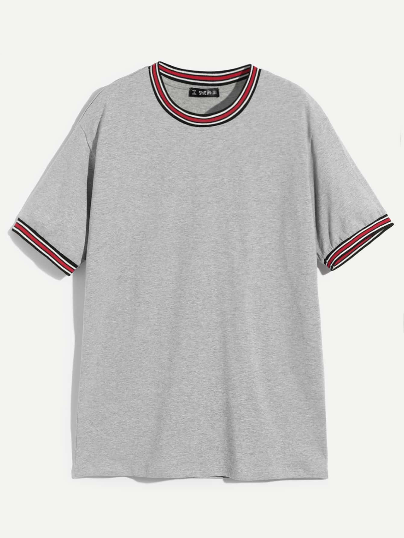 Купить Мужская однотонная футболка с полоской отделкой, null, SheIn