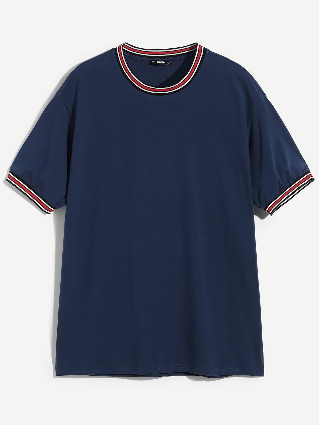 Купить Однотонная футболка с полосатым низом для мужчин, null, SheIn