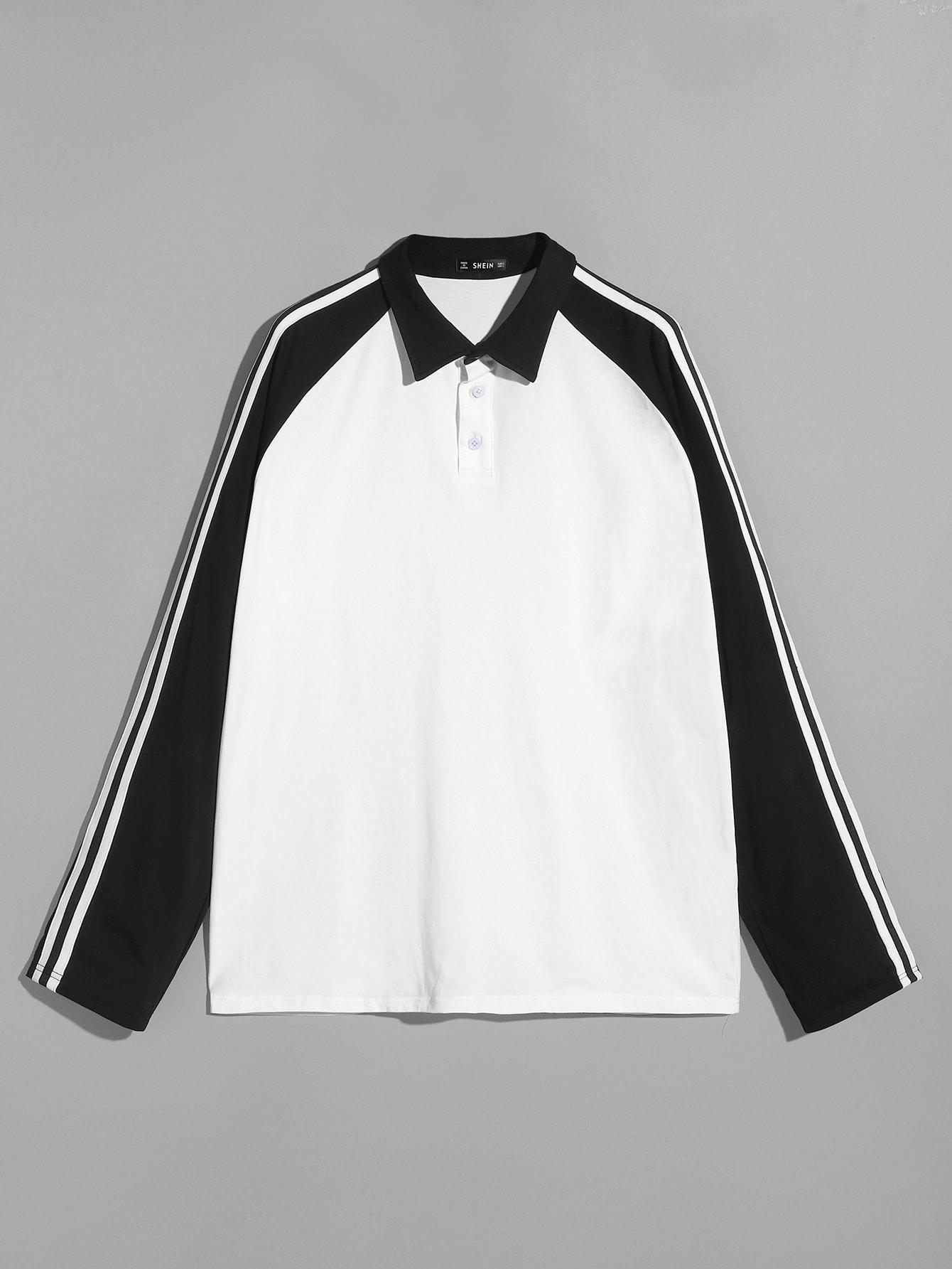 Купить Чёрнобелые Стиль кэжуал Мужские футболки, null, SheIn