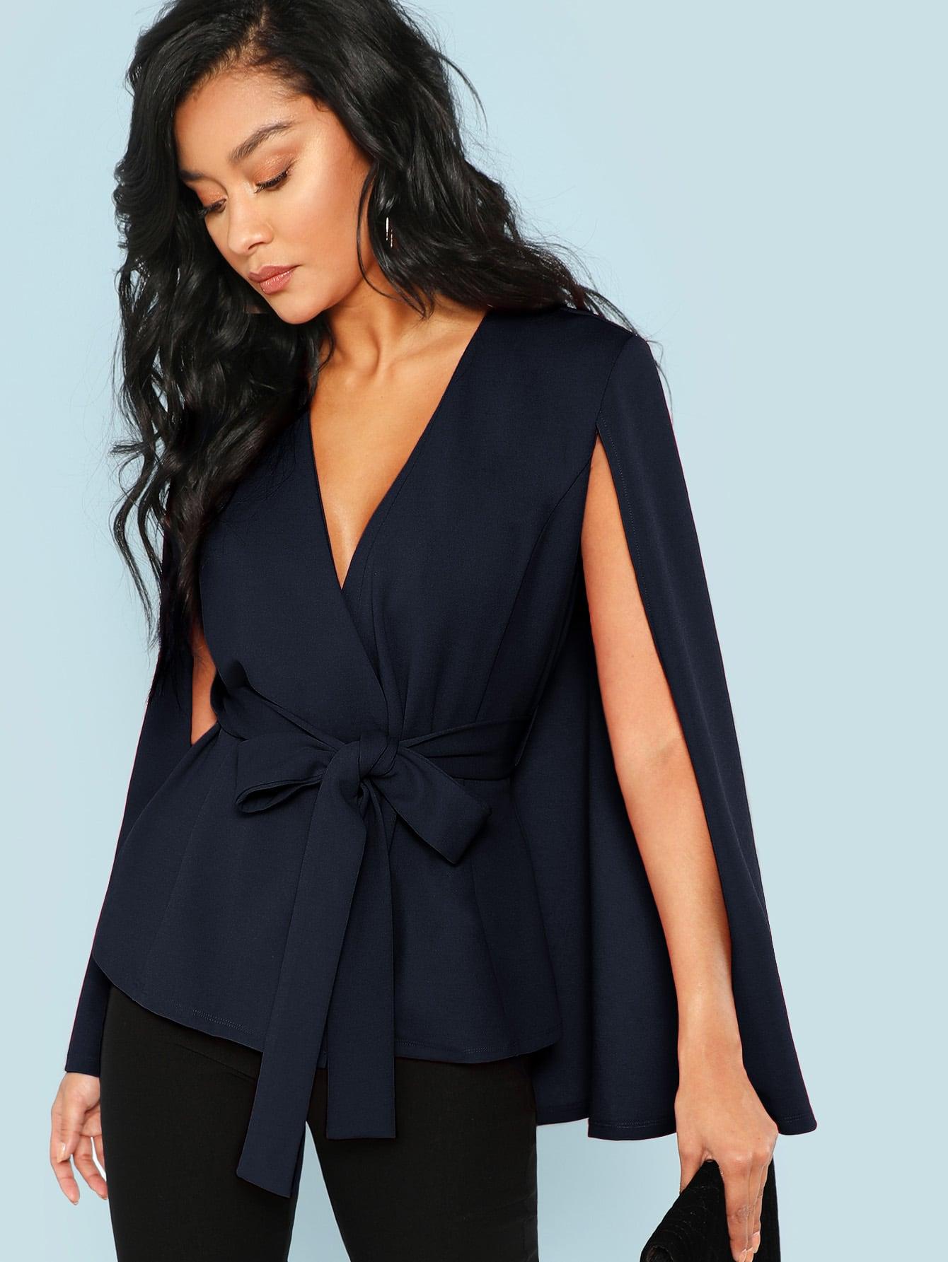 Купить Пальто-пончо с глубоким вырезом, Muriel Villera, SheIn