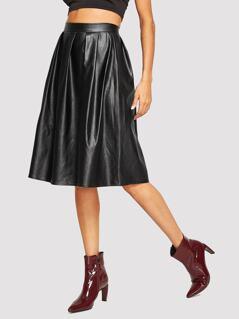 Zip Side Pleated Detail Skirt