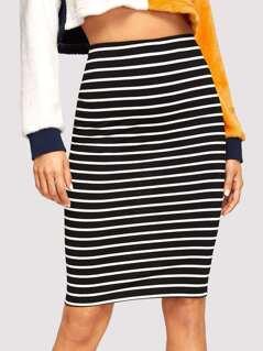 Striped Print Bodycon Skirt