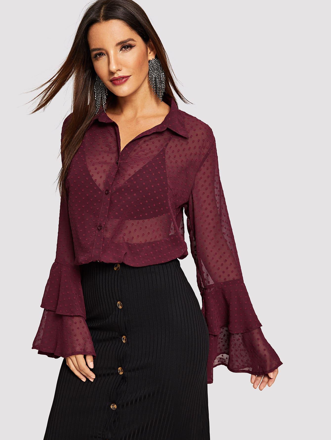 Купить Прозрачная блузка в горошек с оборками рукавами, Juliana, SheIn