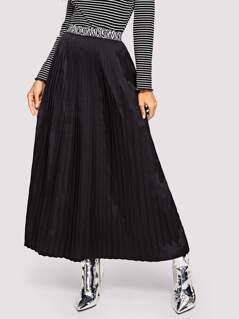 Contrast Waistband Pleated Skirt