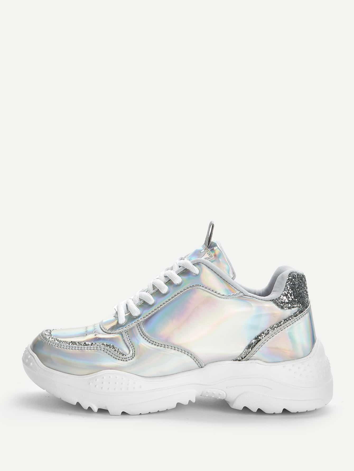 Фото - Блестящие кроссовки на шнуровке с блестками от SheIn серебрянного цвета
