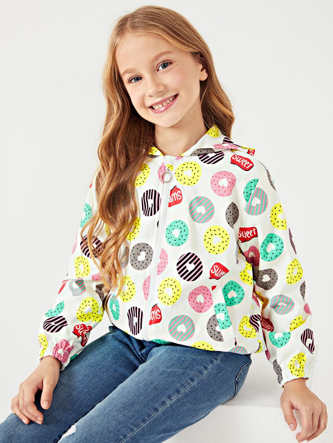 Купить Ветровка с капюшоном и рисунком пончика для девочки, Masha. P, SheIn