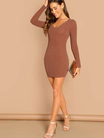 SheIn / Plunging Neck Bodycon Dress