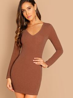 Plunging Neck Bodycon Dress