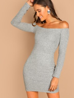 Off Shoulder Heathered Rib Knit Long Sleeve Sweater Dress