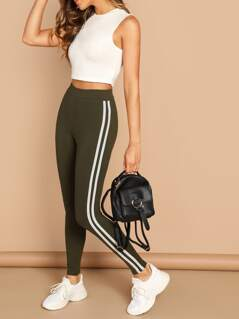 Double Side Stripe Knit Stretch Leggings