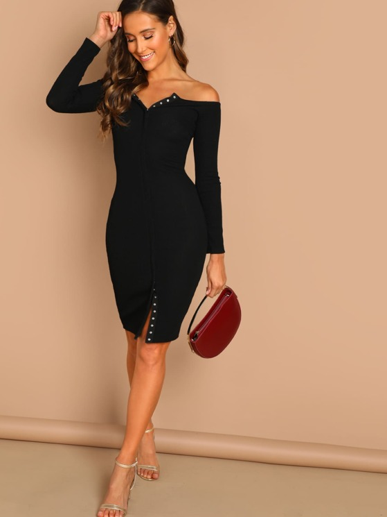 15ea1f0a482b Button Front Rib Knit Long Sleeve Midi Dress | MakeMeChic.COM