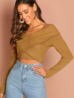 Off Shoulder Wrap Front Rib Knit Crop Top