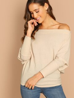 Off The Shoulder Waffle Knit Long Sleeve Top