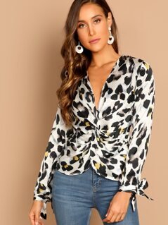 Leopard Twist Front Long Sleeve Blouse
