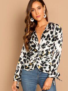 Leopard Twist Front Long Sleeve Blouse