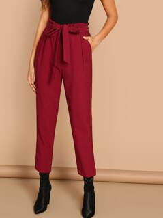 Self Belted Cropped Pants