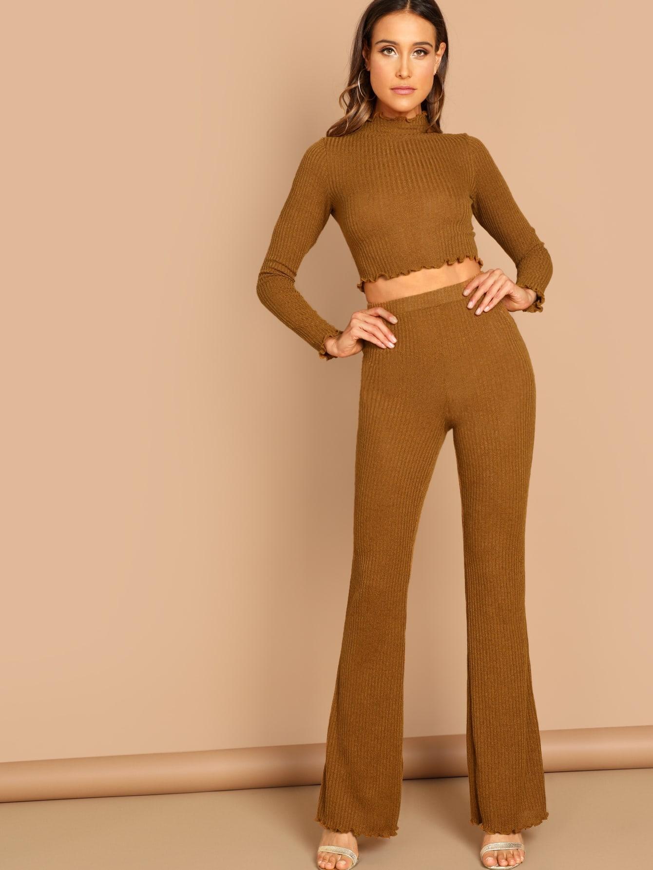 Купить Кроп приталенная футболка со стоячим воротником и брюки, Anna Herrin, SheIn