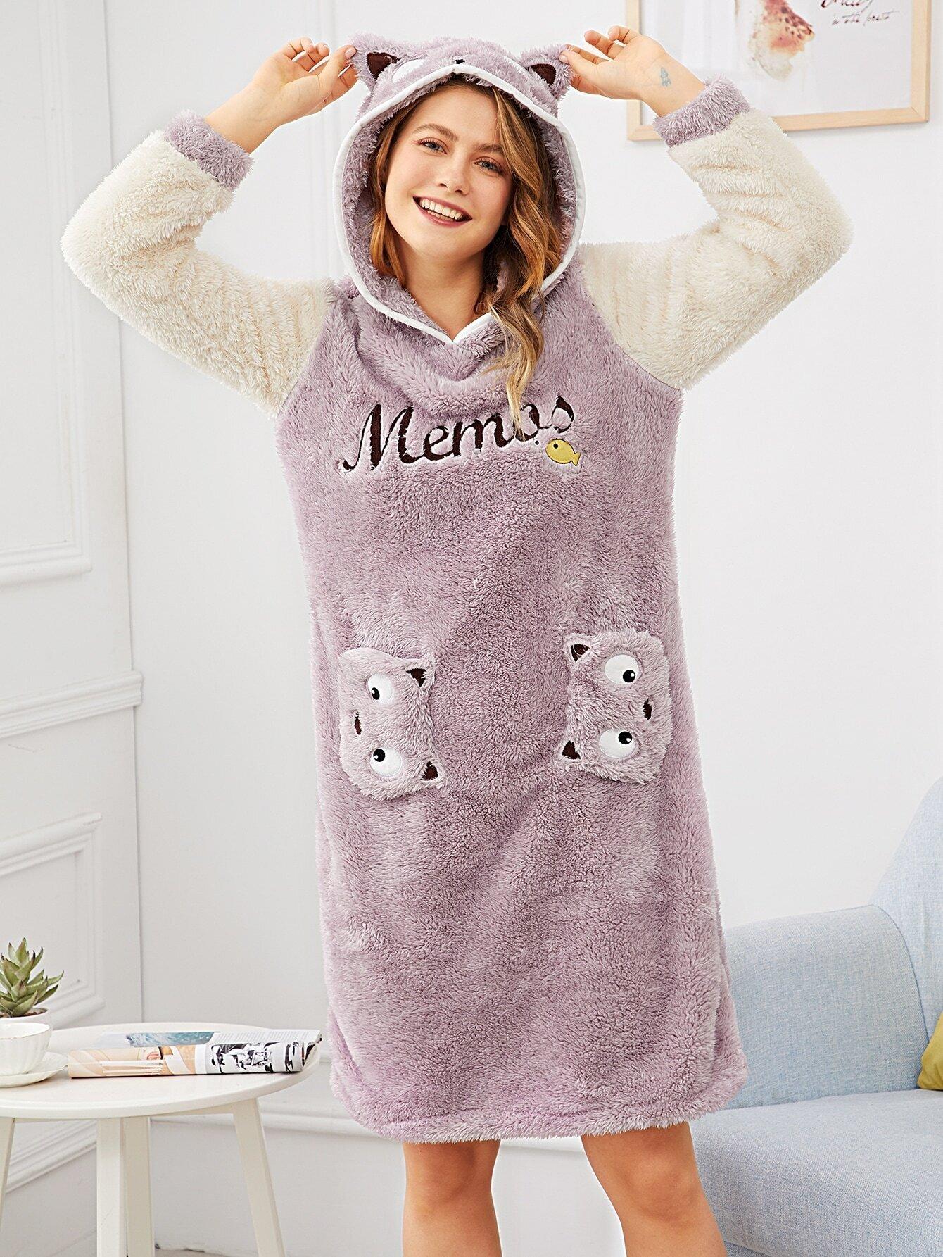 Купить Пушистое платье с капюшоном и принтом кота и вышитым текстовым, Nastyab, SheIn