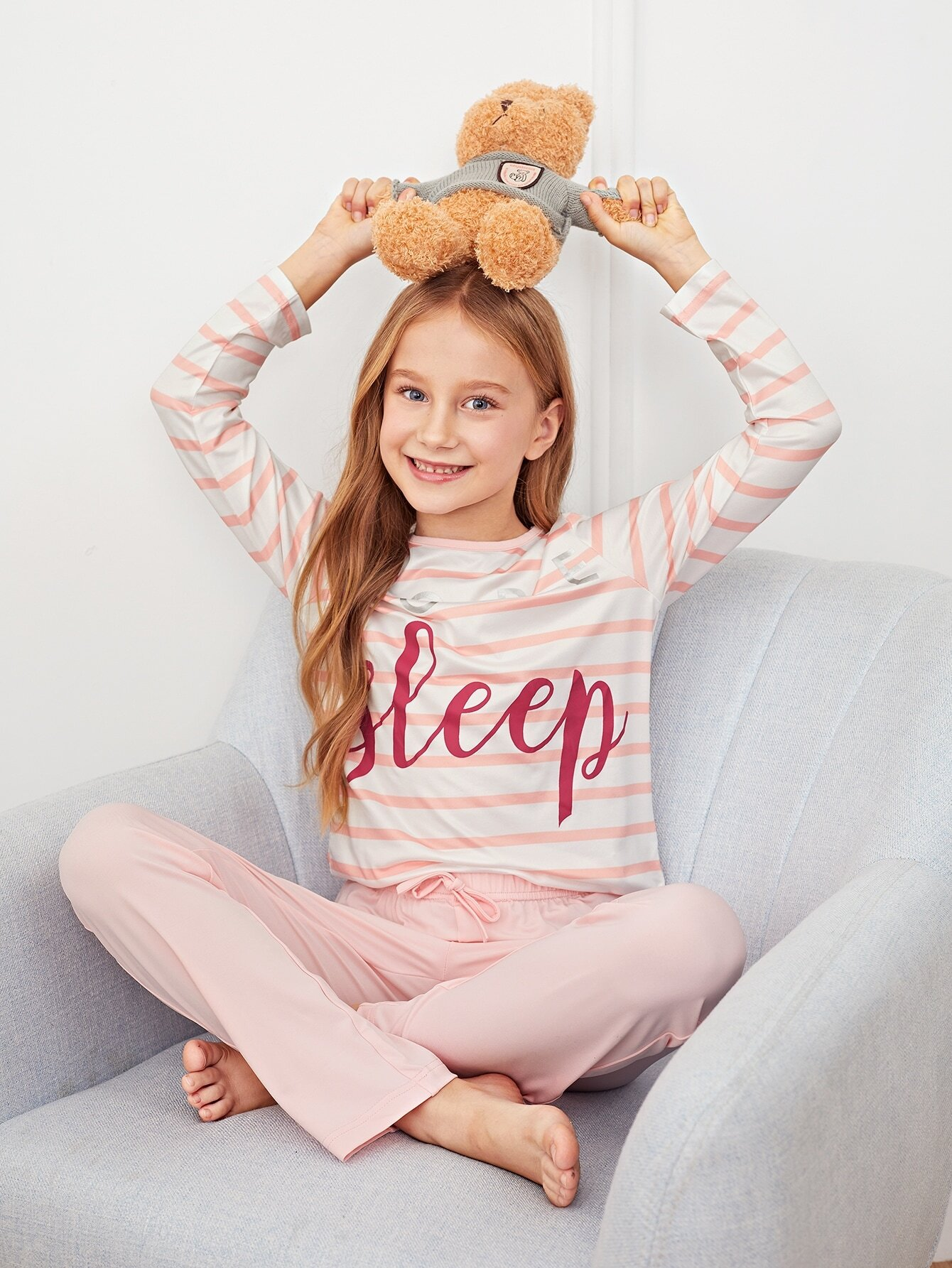 Полосатая пижама с текстовым принтом для девочек от SheIn