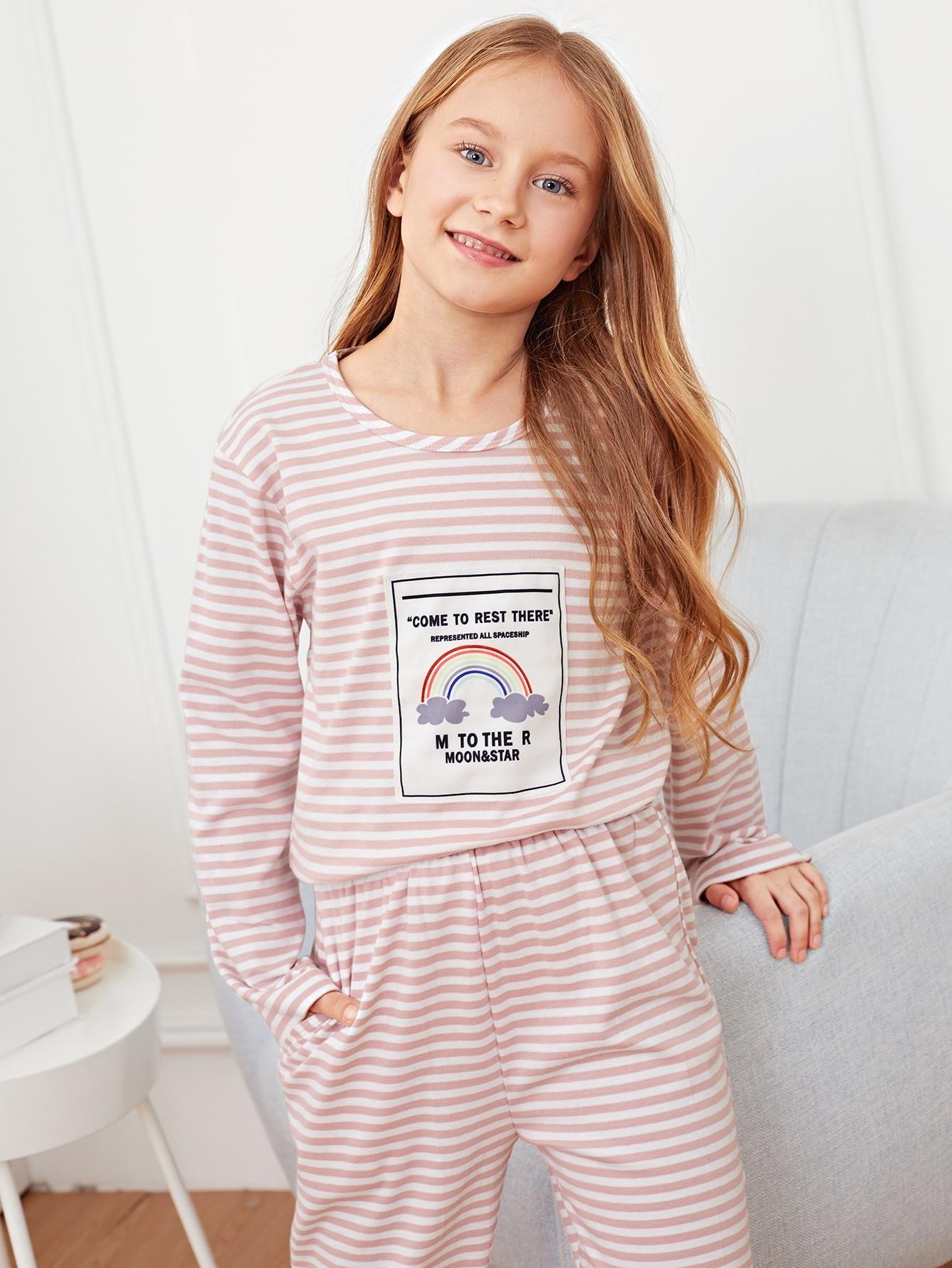 Полосатая пижама с принтом радуги для девочек от SheIn