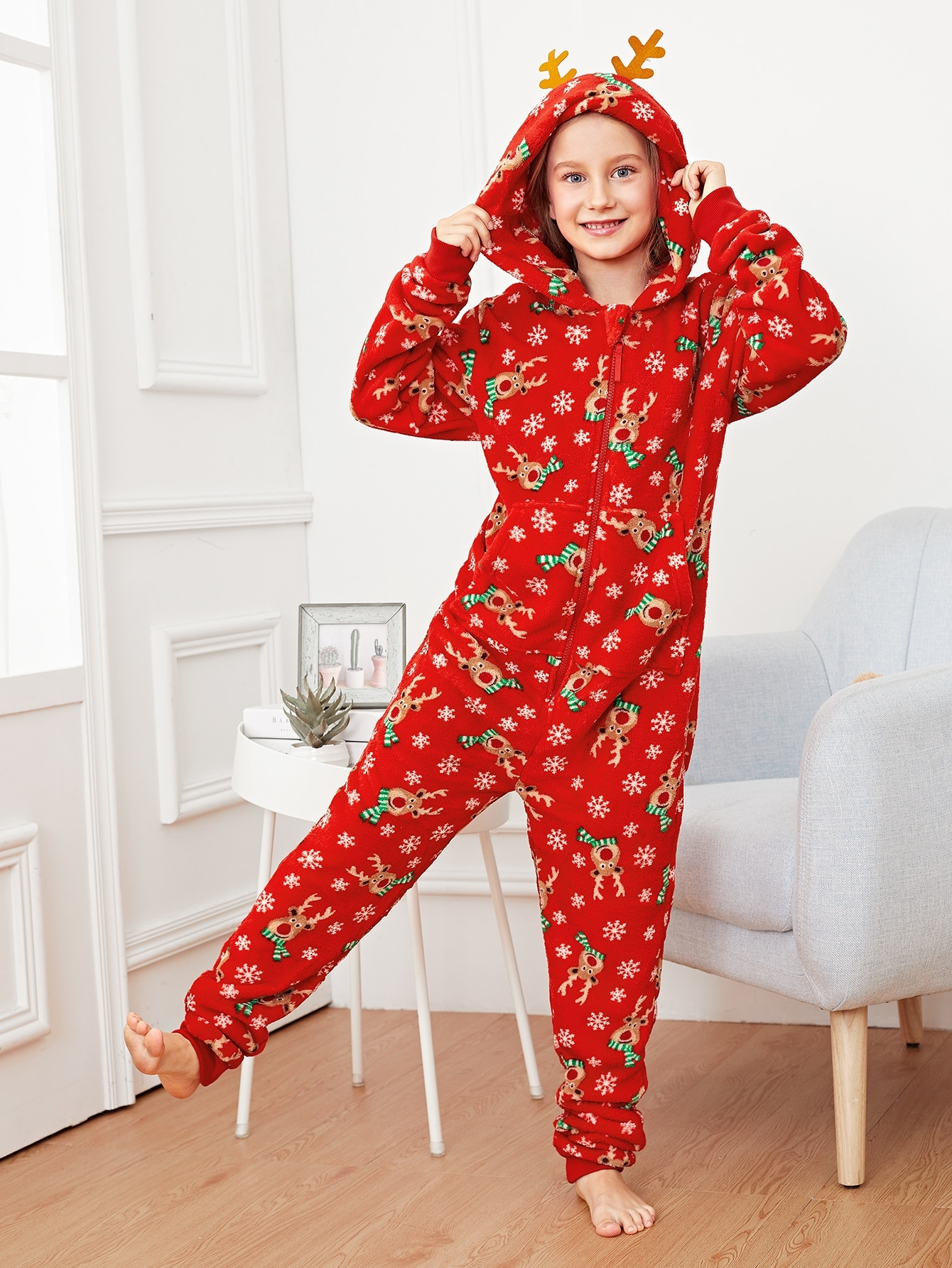 Рождественская пушистая пижама в форме оленя для девочек от SheIn