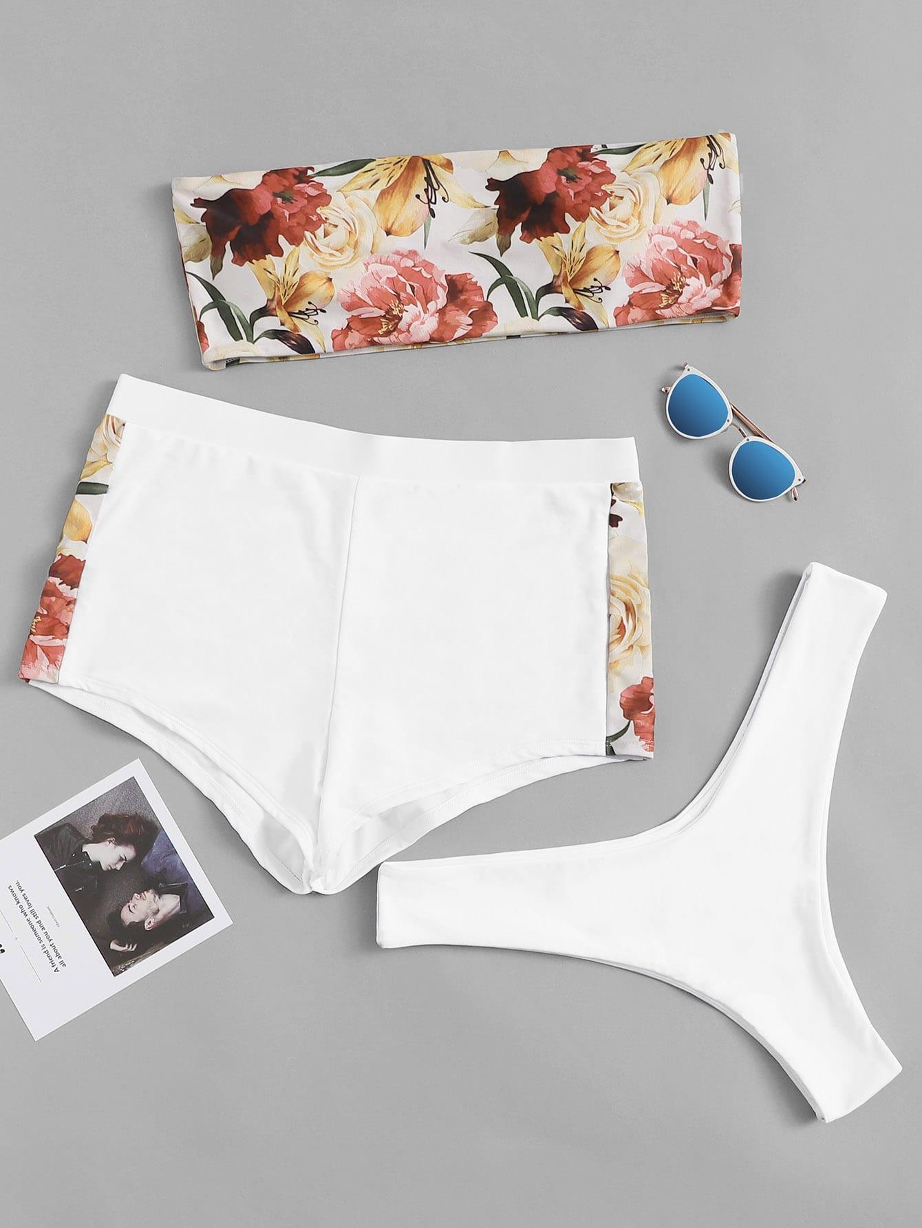 3 шт./компл.цветочное бикини бандо и шорты размера плюс, null, SheIn  - купить со скидкой