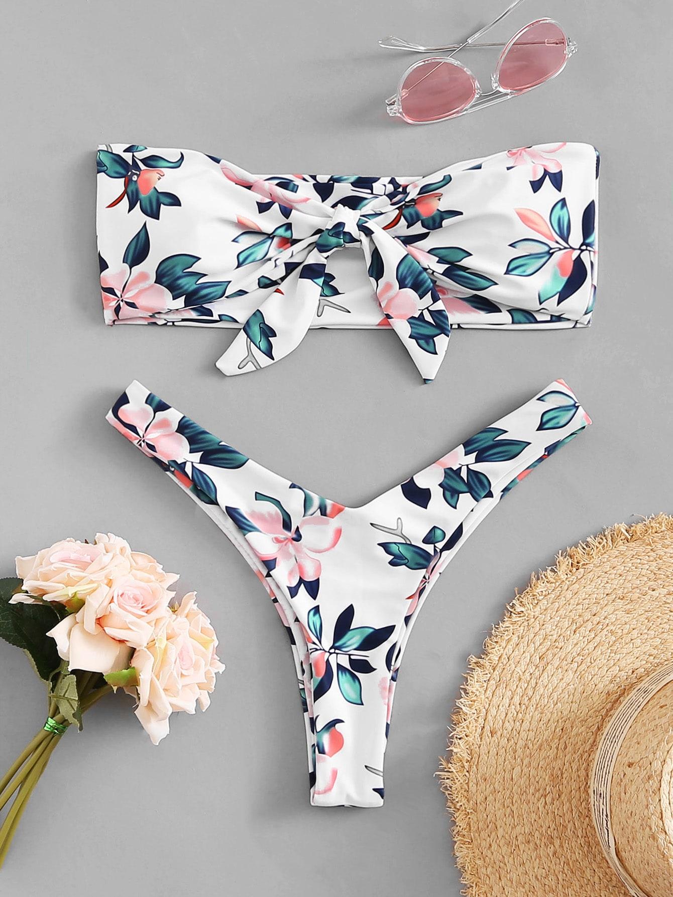 Купить Случайные цветочные бикини комплект с узлом, null, SheIn