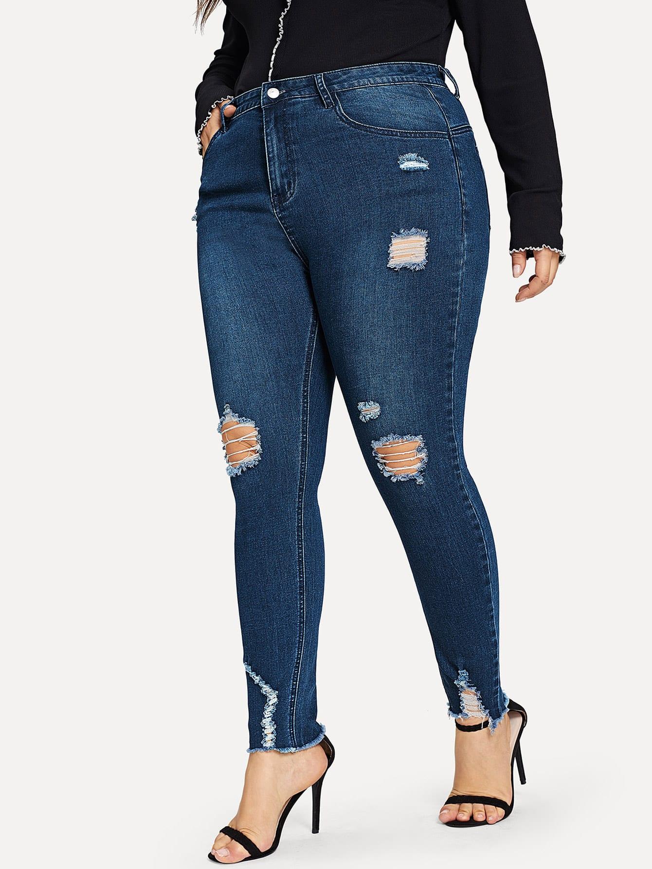 Купить Рваные джинсы размера плюс, Franziska, SheIn