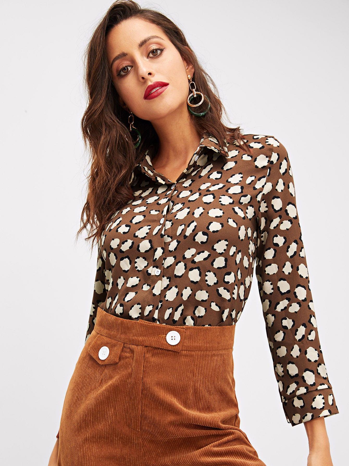 Фото - Рубашку с геометрическим принтом от SheIn цвет многоцветный
