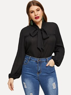 Plus Cut-And- Sew Tied Neck Blouse