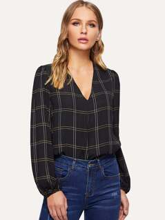 V-Neck Grid Top