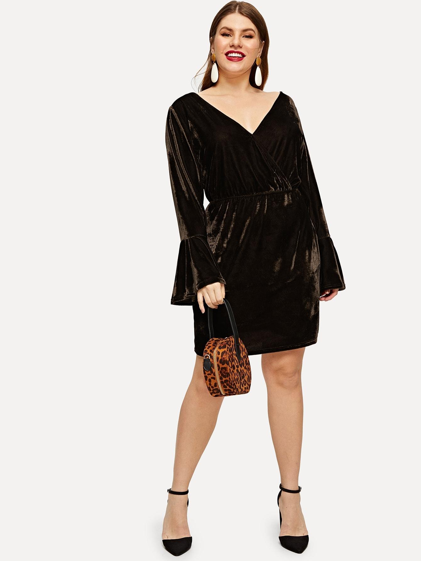 Платье с слоистыми воланоми рукавами v задняя размера плюс, Isabela, SheIn  - купить со скидкой