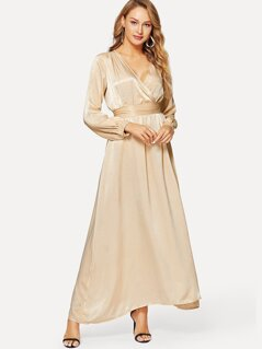 Wrap Front Banded Waist Satin Dress