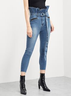 Ruffle Waist Skinny Jeans With D-Ring Belt