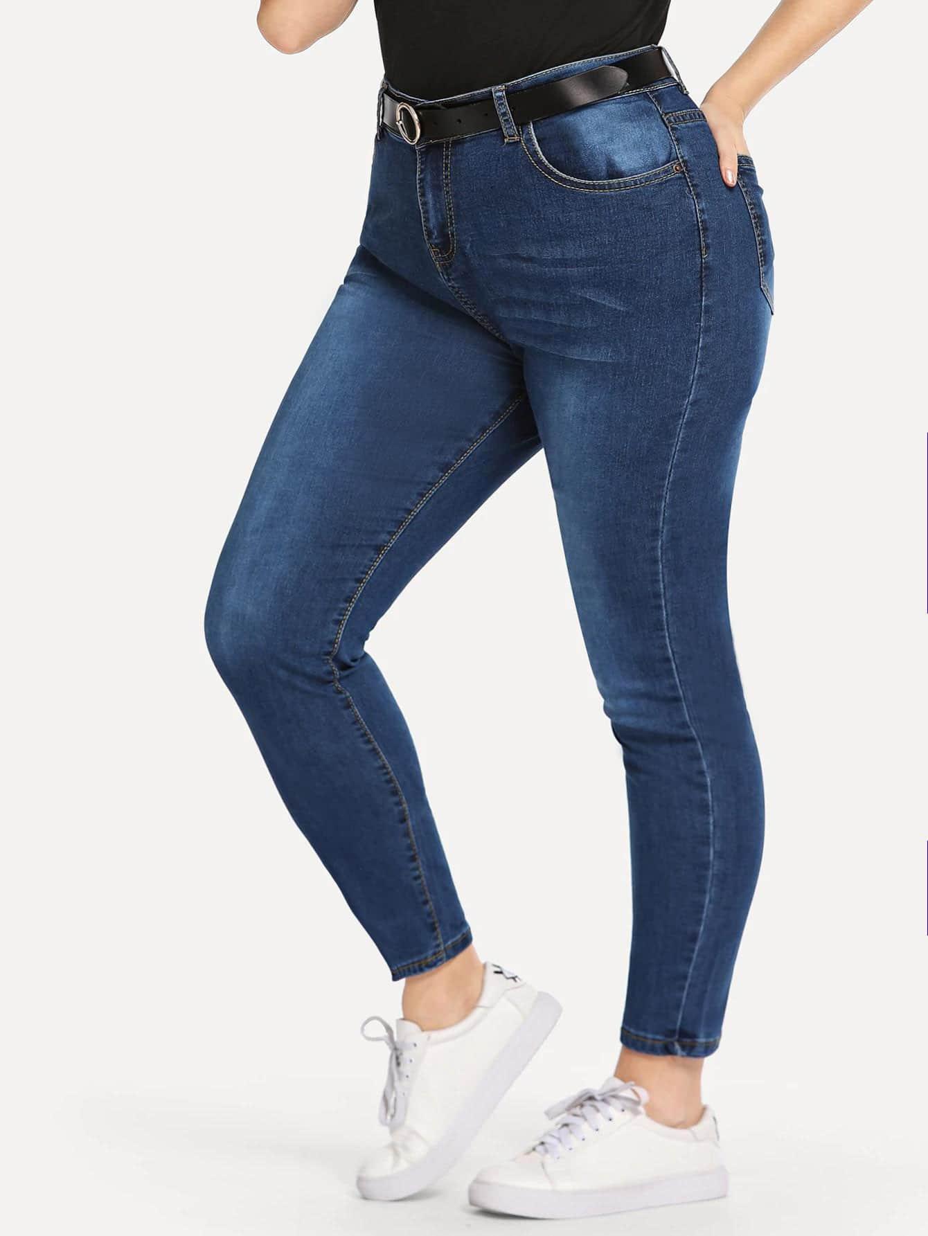 Купить Омывается отбеленные джинсы без пояса размера плюс, Isabela, SheIn