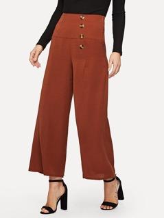Buttoned Side Palazzo Leg Pants